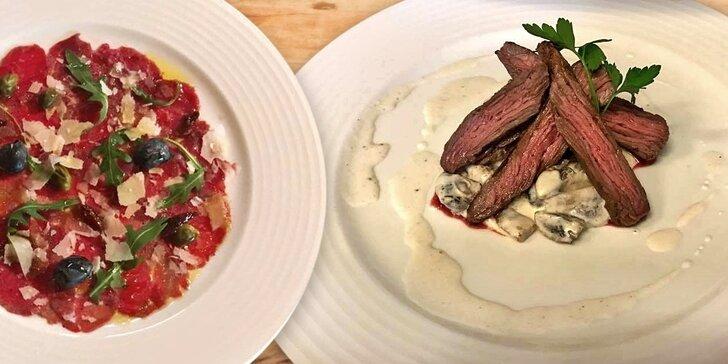 Tříchodové menu pro jednoho: Carpaccio, rajčatový krém a flank steak