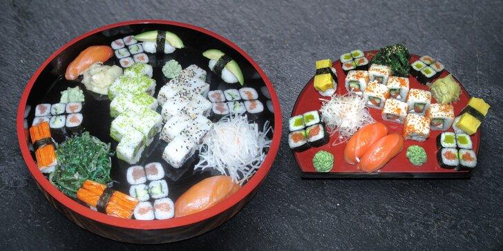 Hostina v japonském stylu: 28 kousků sushi nebo 2 polévky a 46 kousků sushi