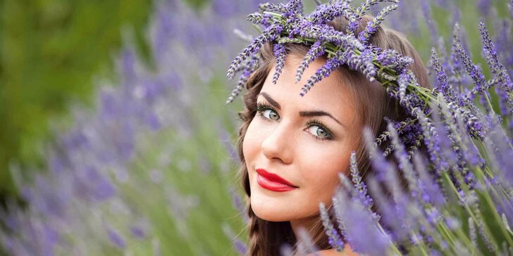 Přírodní kosmetické ošetření pleti s levandulí včetně masáže