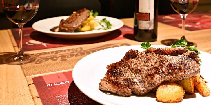 Skvělé jídlo pro 2 v centru Prahy: Grilovaný rump steak s přílohou i vínem