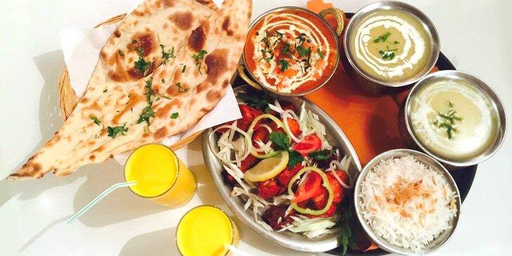 Poznejte úchvatnou chuť a vůni Indie: Hostina v restauraci Taj Mahal pro dva