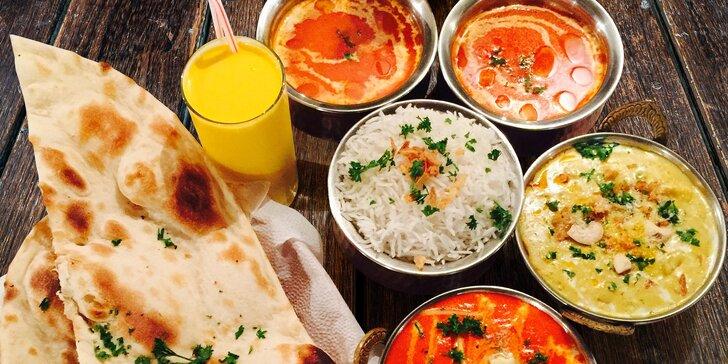 Menu pro 2 v restauraci Taj Mahal - nápoj, polévka a hlavní jídlo s masem i bez