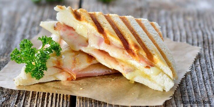 Křupavá snídaně či svačina pro 2: Panini z grilu se sýrem či šunkou a zeleninou