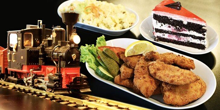 Dneska obsluhuje vlak: předkrm, hlavní chod a dezert pro 1 nebo 2 osoby