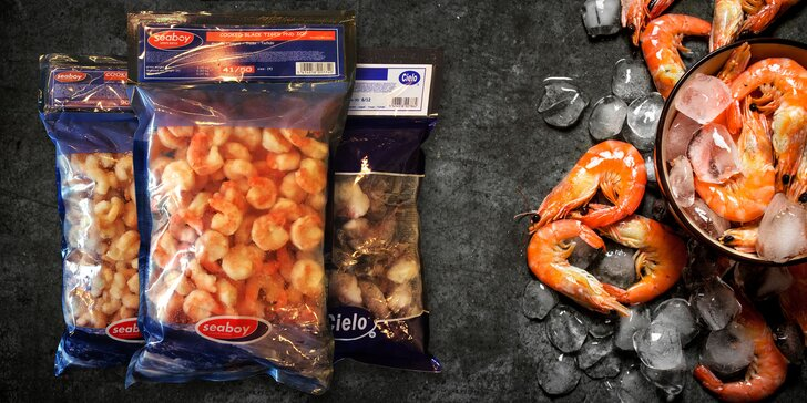 800 gramů krevet: mražených, vyloupaných a předvařených