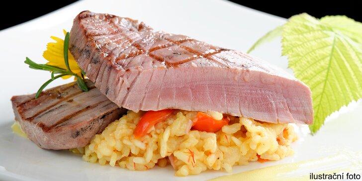 Grilovaný steak z tuňáka v sashimi kvalitě s krémovým rizotem pro 1 nebo 2 osoby