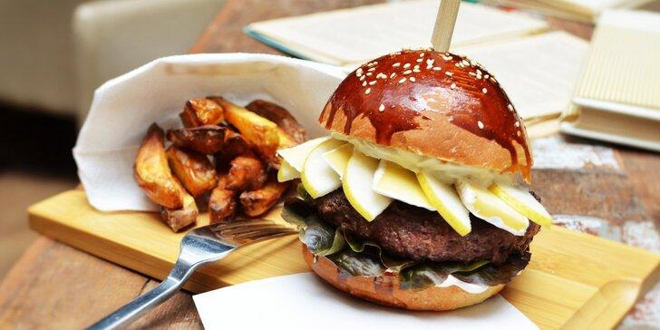 Bohaté burger menu v srdci Karlína včetně domácích hranolků a tatarky