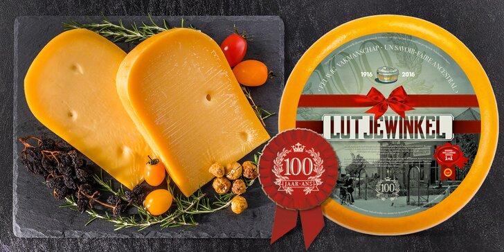 300gramové holandské sýry: jubilejní gouda nebo jemný sýr Belsagio
