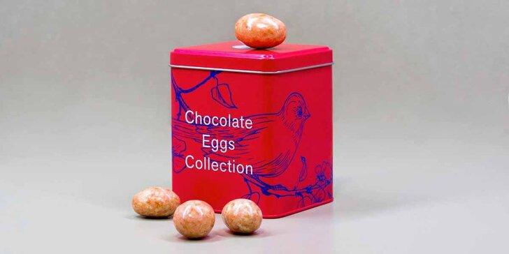 Kolekce čokoládových vajíček jako z ptačího hnízda v plechové dóze