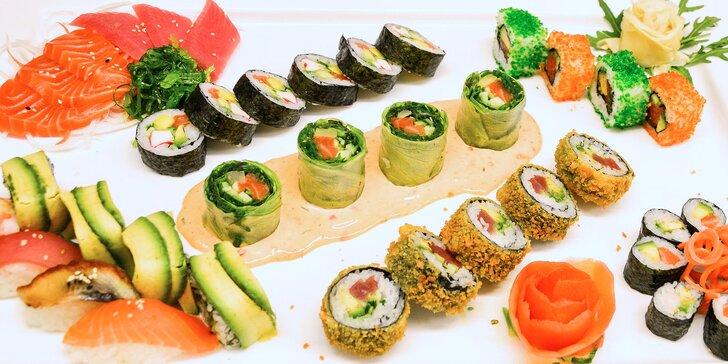 Sety čerstvého a lahodného sushi, které v srdci města nasytí 2 samuraje