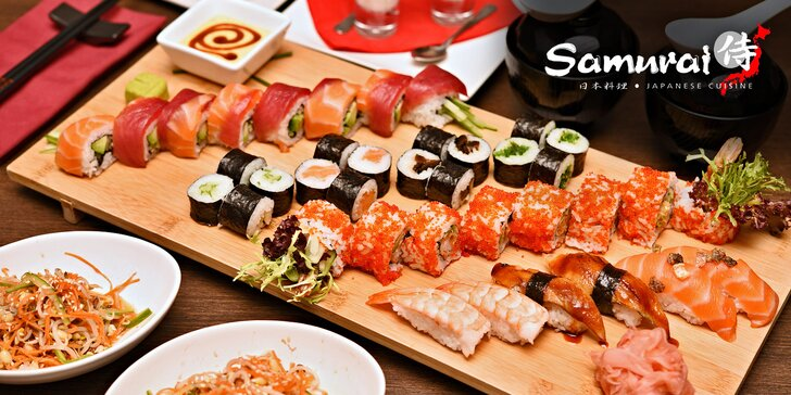 Bohaté japonské Sushi Samurai menu pro 2 sushi bojovníky