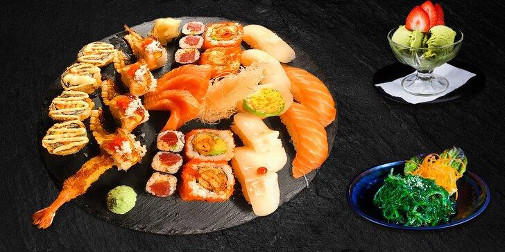 Fantazie na talíři: lákavé sushi menu pro 2 osoby se závitky a zmrzlinou