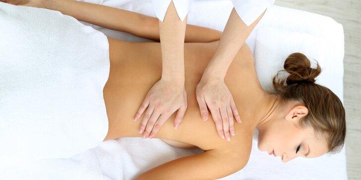 50minutová relaxační masáž zad, krční páteře a hlavy levandulovým olejem