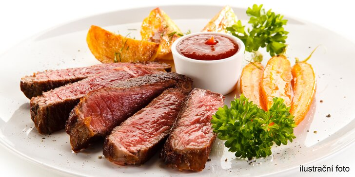 Steak z jakékoliv části amerického býčka, příloha dle výběru, salát a dezert