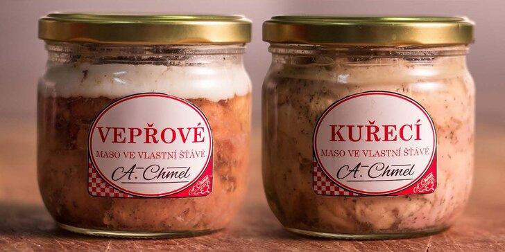 Kuřecí nebo vepřové maso ve vlastní šťávě: jen maso a špetka mořské soli