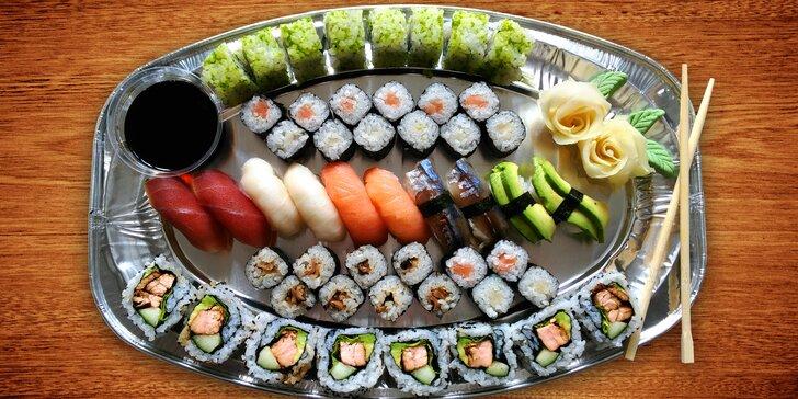 Barevný sushi set s 50 kusy a dovozem až domů nebo do kanceláře