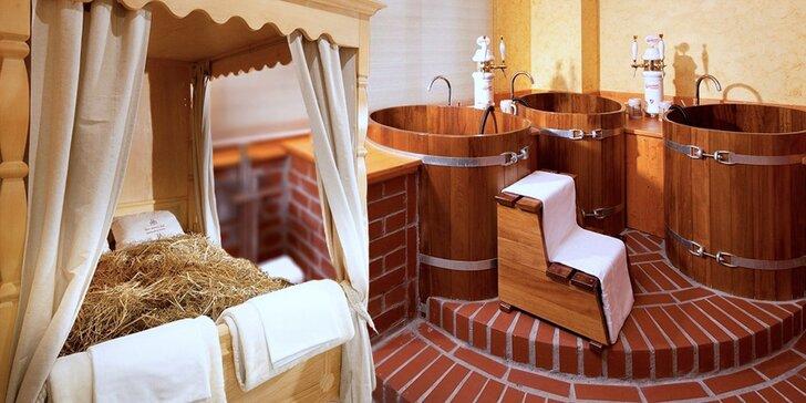Hodina ve vířivce a sauně s privátní pivní lázní v dřevěných kádích