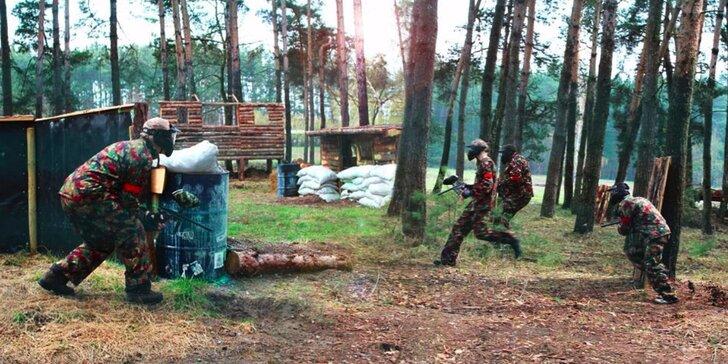 Paintballová zábava se 100 kuličkami v Hradci Králové u rybníka
