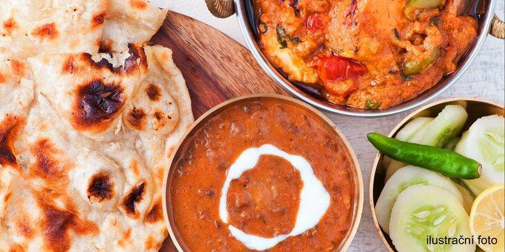 Umění indických kuchařů: polévka a kuřecí hlavní chod dle výběru pro dva