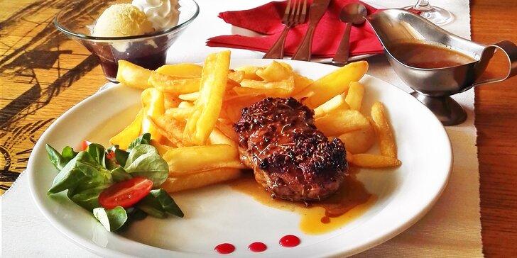 Steak ze pštrosího bio masa s přílohou a sladkým dezertem pro 1 či 2