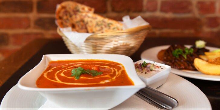 Indické menu o třech chodech: od předkrmu po dezert dle vašeho výběru