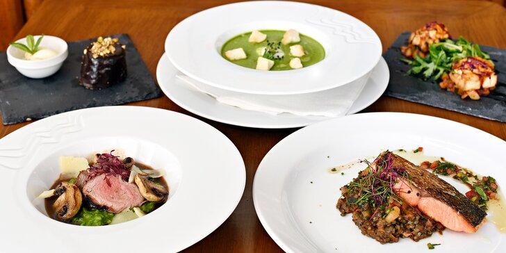 Rafinované menu se dvěma hlavními chody, předkrmem, krémem a sladkou tečkou