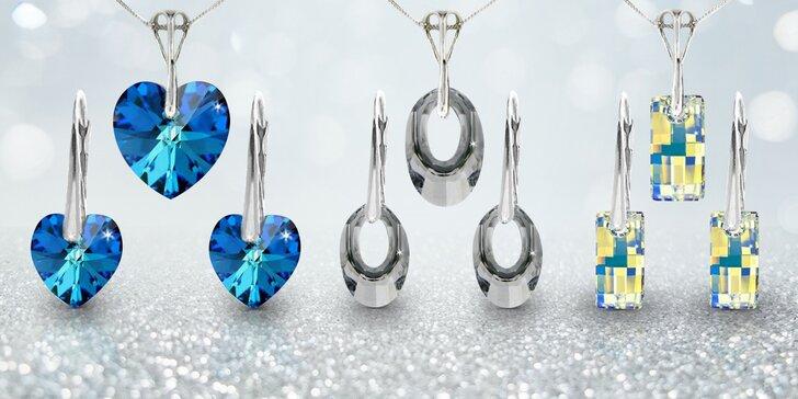 Stříbrné náušnice a řetízek s přívěskem se Swarovski krystaly