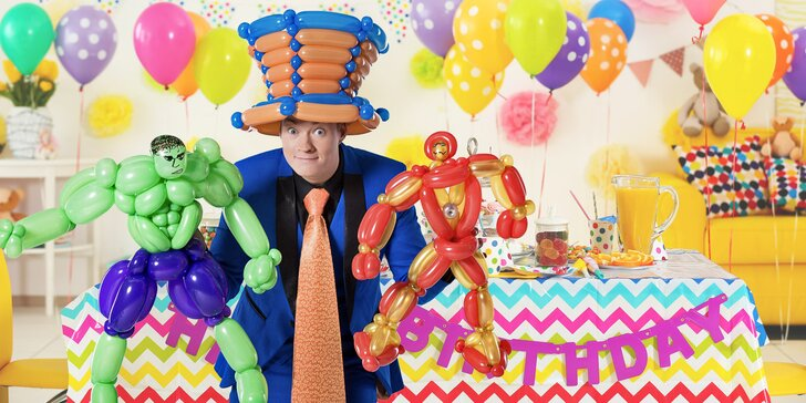 Pozvěte na dětskou oslavu Pana Kravatu: zábavná kouzelnická a balónková show
