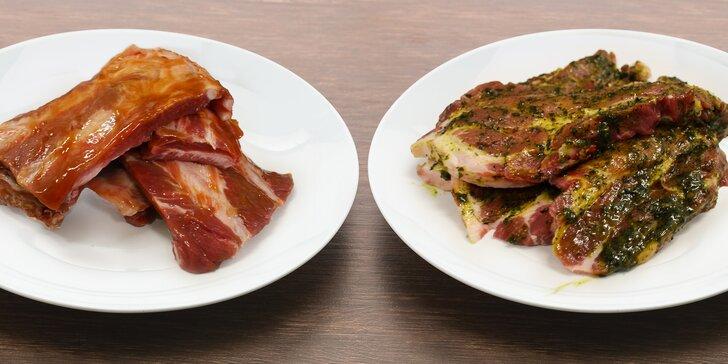 500 g marinovaného masa: krkovička, kuřecí steak či žebra lahodných chutí