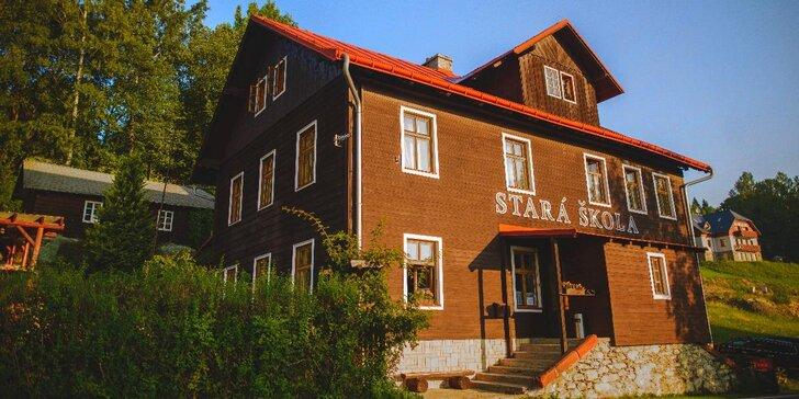Prázdninová dovolená v Krkonoších s polopenzí, bazénem i trampolínou