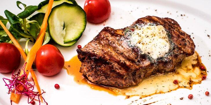Mlynářský oběd nebo večeře: 2 hovězí rumpsteaky s libovolnou přílohou