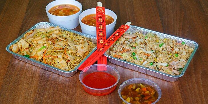 Stylové asijské menu pro 2 až do vašeho obýváku: polévka a hl. jídlo dle výběru