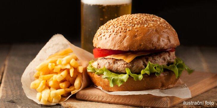 Vyladěné menu v centru města: Canada burger, domácí hranolky a nápoj