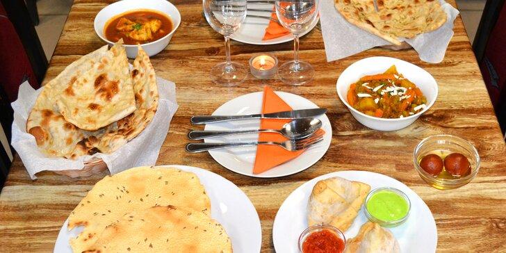 Paleta indických chutí: menu s kuřecím či vegetariánským hlavním chodem pro 2