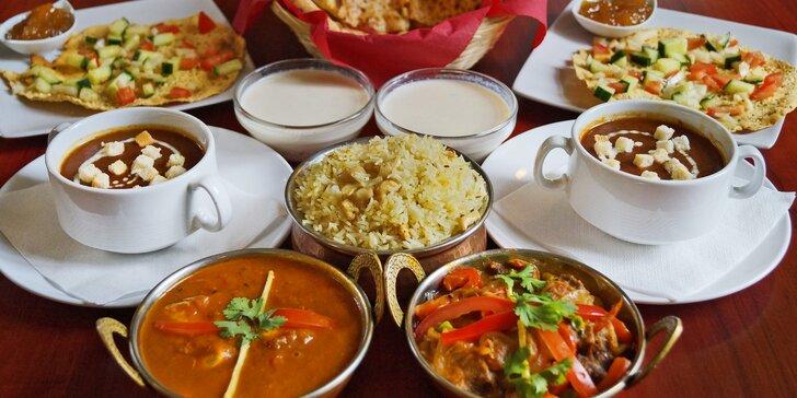 Vynikající indické menu pro dva včetně chodů pro vegetariány