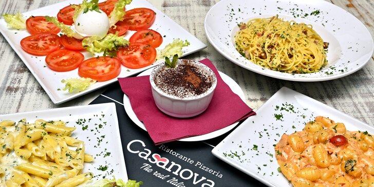 Italské menu pro dva: předkrm, těstoviny dle výběru a dezert na Malé Straně