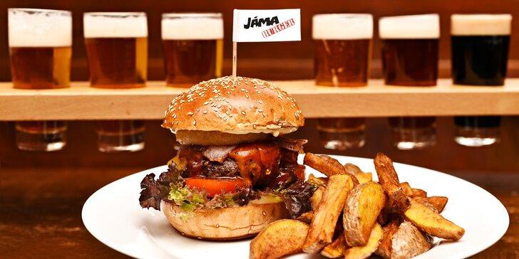 Výtečné burgery a ochutnávka 6 českých piv pro 1 či 2 osoby