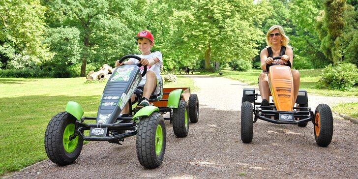 Super jízda pro dospělé i děti: Šlapací káry Berg či koloběžky Kostka na hodinu