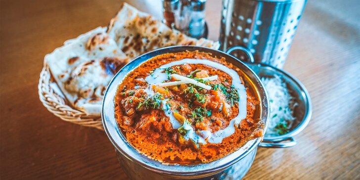 Indicko-nepálské menu s předkrmem, kuřecí specialitou a nápojem lassi