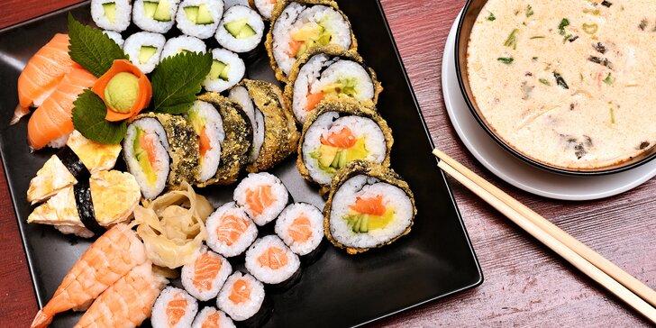 Pestrý set pro 2 plný dobrot z Asie: polévka, tempura, sushi i dezert