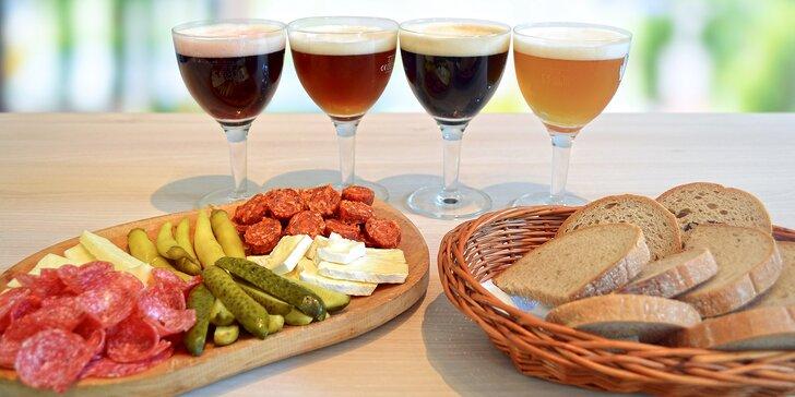Ochutnávka 4 druhů piv a prkénko plné dobrot pro dvě osoby