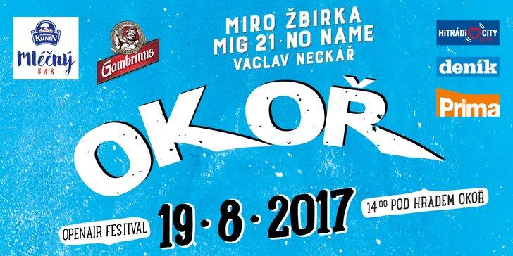 Vstup na festival Okoř 2017: No Name, Vypsaná fiXa, Miro Žbirka a další hvězdy