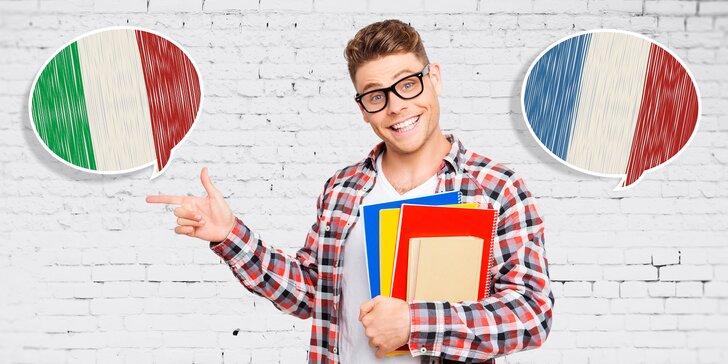 4měsíční kurz italštiny nebo francouzštiny konverzační metodou