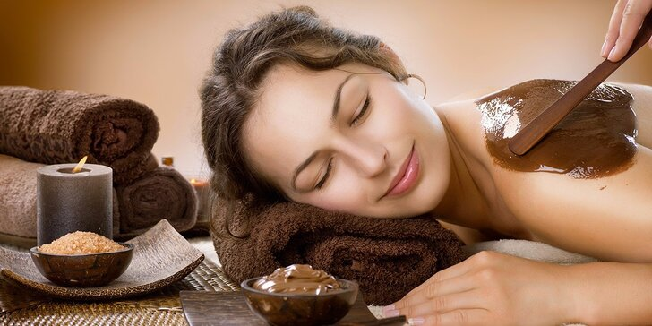 60minutová čokoládová relaxační masáž s peelingem a zábalem