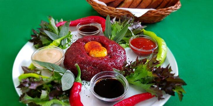 Tatarák z hovězí roštěné pro dva nebo 4 a neomezené množství topinek