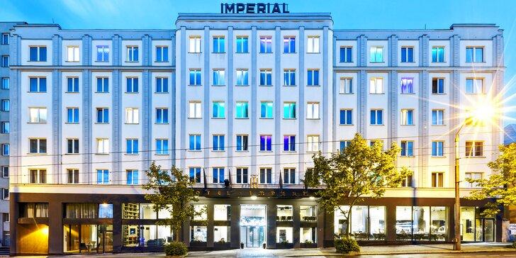 Noc v designovém pokoji 4* Grand Hotelu Imperial a večeře s degustací vín