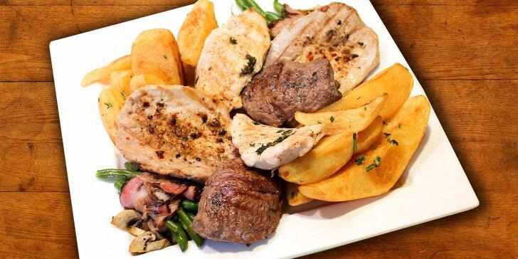 Grilovaný masový mix, salátky i domácí koláč v Dynamu
