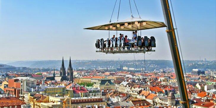 4chodová večeře od špičkového šéfkuchaře podávaná na plošině 50 m nad zemí