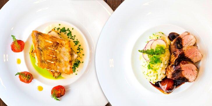 4chodové menu s candátem nebo vepřovou panenkou v restauraci Amaryla