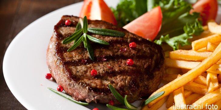 Pošmákněte si: Salátová variace s třemi druhy steaků, hranolky a dezertem pro 2